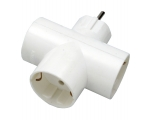 Plug SC ELECTRIC 8678 3sockets, with grounding, white 16A