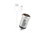 Car charger FONEX 2xUSB 2.1A + lightning, white