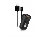 Car charger FONEX 2xUSB 2.1A + TYPE-C, black