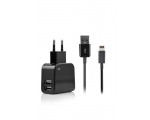 Charger FONEX 2xUSB  2.1A+Lightning, black