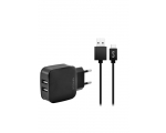 Charger FONEX 2xUSB 2.1A + TYPE-C, black